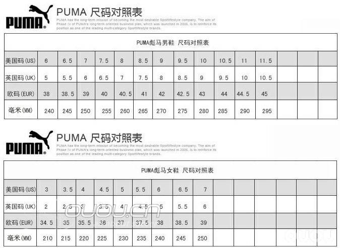 各品牌足球鞋码数对照表adidas nike puma mizuno Umbro